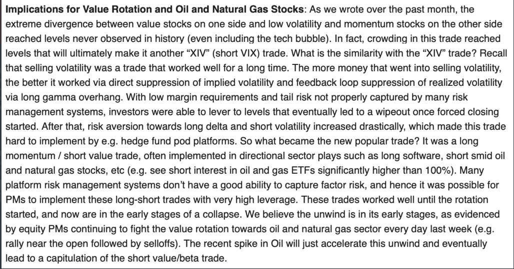 "JPM on the MOMO trade and Oil - similar to the crowded ""XIV"" trade that blew up"